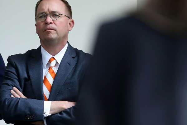 WASHINGTON, DC - MAY 22: White House Chief of Staff Mick Mulvaney listens to President Donald Trump speak about Robert Mueller's investigation into Russian interference in the 2016 presidential election in the Rose Garden at the White House May 22, 2019 in Washington, DC. Trump responded to House Speaker Nancy Pelosi saying he was engaged in a cover up. (Photo by Mark Wilson/Getty Images)