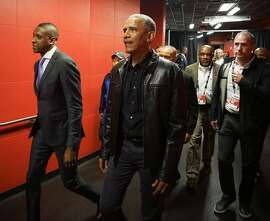President Barack Obama arrives for game 2 of the NBA Finals between the Golden State Warriors and the Toronto Raptors on Sunday, June 2, 2019 at Scotiabank Arena in Toronto, Ontario, Canada.