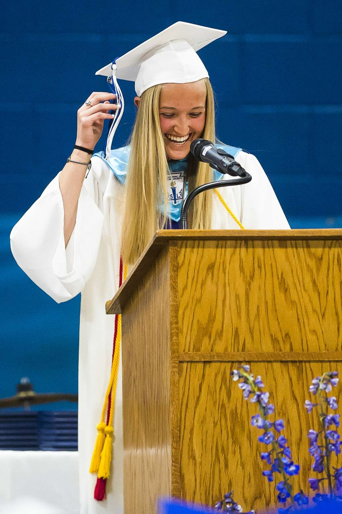 Coleman High School students celebrate their graduation with a commencement ceremony on Sunday, June 2, 2019 in the school's gymnasium. (Katy Kildee/kkildee@mdn.net)