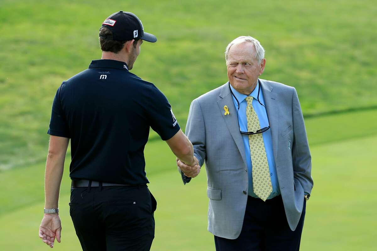 DUBLIN, OHIO - JUNE 02: Patrick Cantlay shakes hands with Jack Nicklaus after winning The Memorial Tournament Presented by Nationwide at Muirfield Village Golf Club on June 02, 2019 in Dublin, Ohio. (Photo by Andy Lyons/Getty Images)