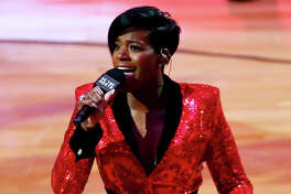 TORONTO, ONTARIO - JUNE 02: Singer and Songwriter Fantasia Barrino sings the American national anthem prior to Game Two of the 2019 NBA Finals between the Golden State Warriors and the Toronto Raptors at Scotiabank Arena on June 02, 2019 in Toronto, Canada. NOTE TO USER: User expressly acknowledges and agrees that, by downloading and or using this photograph, User is consenting to the terms and conditions of the Getty Images License Agreement.