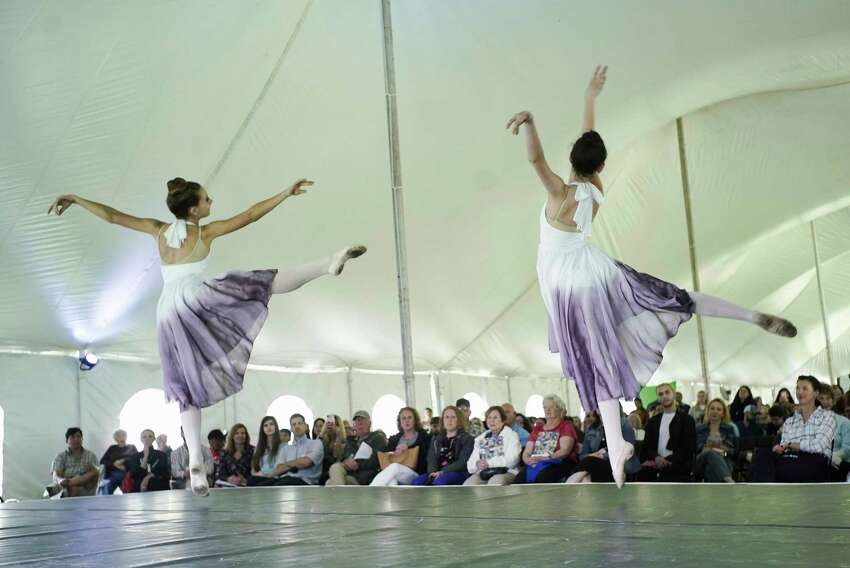 Dancers with Northeast Ballet Company, Marisa Phillips, 13, from Glenville, and Ann Greenwood, 13, from Niskayuna, perform at the Adirondack Trust Company Festival of Young Artists at the Saratoga Performing Arts Center on Sunday, June 2, 2019, in Saratoga Springs, N.Y. (Paul Buckowski/Times Union)