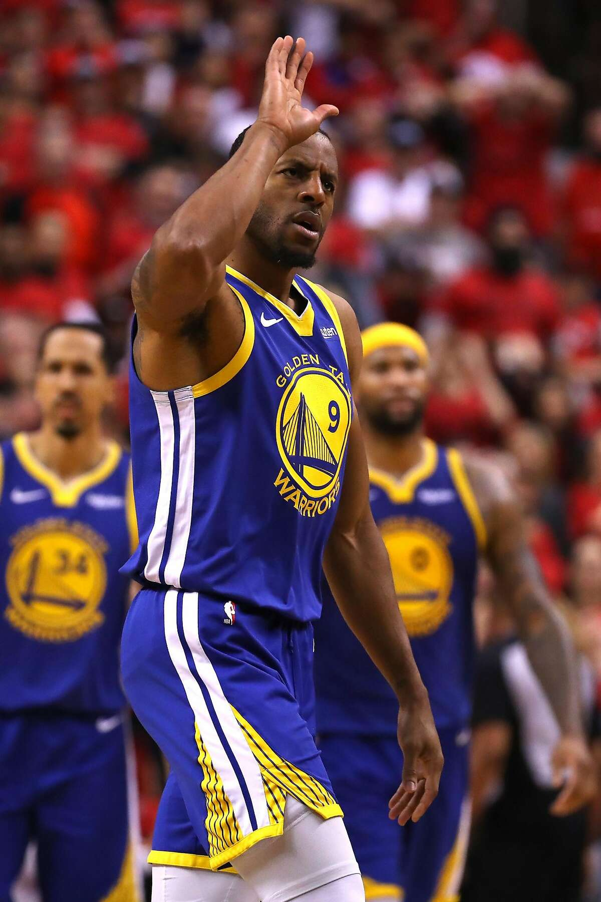 Andre Iguodala of the Golden State Warriors celebrates a basket late in the game against the Toronto Raptors during Game 2 of the 2019 NBA Finals at Scotiabank Arena on June 2, 2019 in Toronto, Canada.