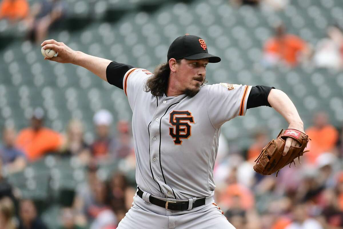 San Francisco Giants starting pitcher Jeff Samardzija delivers a pitch in the first inning of an interleague baseball game against the Baltimore Orioles , Sunday, June 2, 2019, in Baltimore. (AP Photo/Tommy Gilligan)