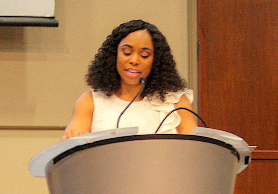 Keynote Speaker Tasha Fox speaks about conquering fear at the Edwardsville Branch NAACP 55th annual Freedom Fund Banquet Sunday at SIUE. Photo: Andrew Malo | For The Intelligencer