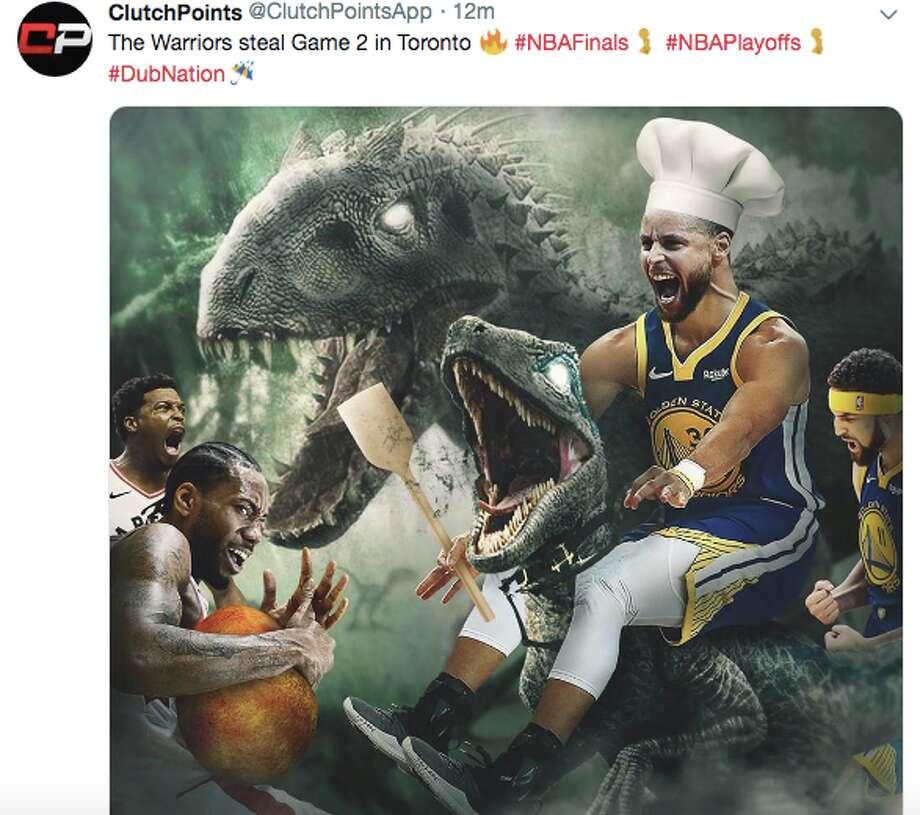 Fans mock Drake and the Toronto Raptors after the Golden State Warriors win Game 2 of the 2019 NBA Finals. Photo: Twitter