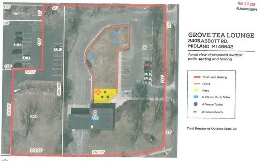 A map included in the Midland Planning Commission agenda packet for the May 28 meeting shows the outdoor seating area at Grove Tea Lounge. (Photo provided)