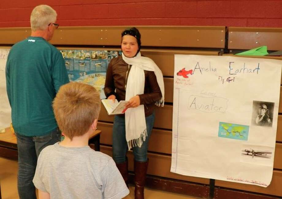 Kaitlyn Zastrow portrays Amelia Earhart during St. John's Lutheran School's recent live wax museum. (Photo provided)