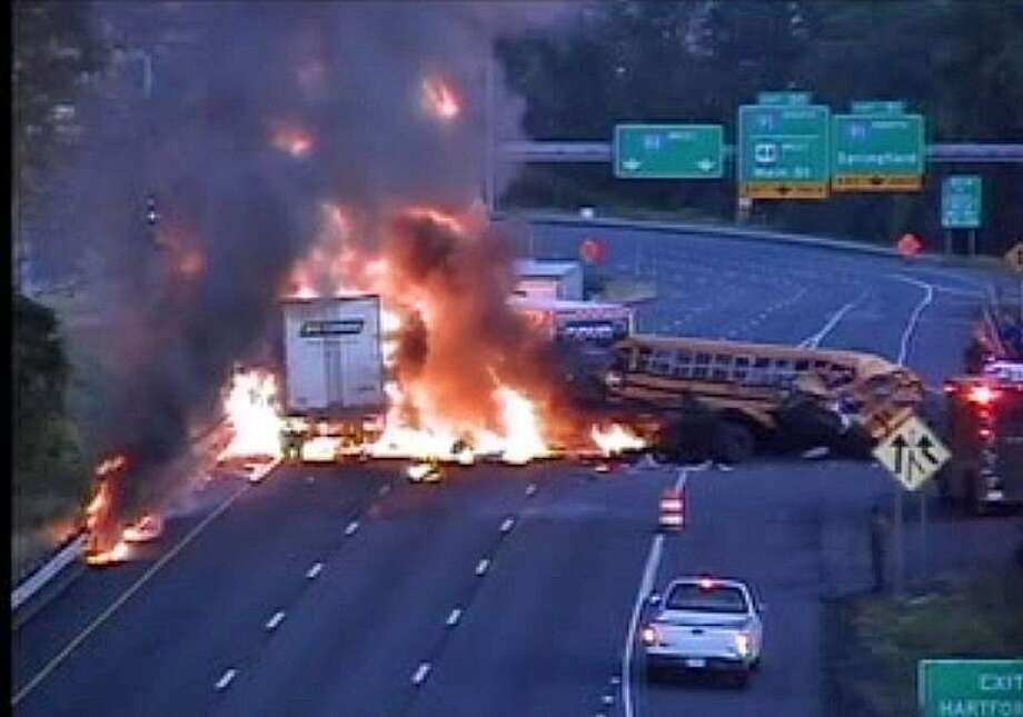 Two dead in fiery truck, bus crash on I-84 - Connecticut Post