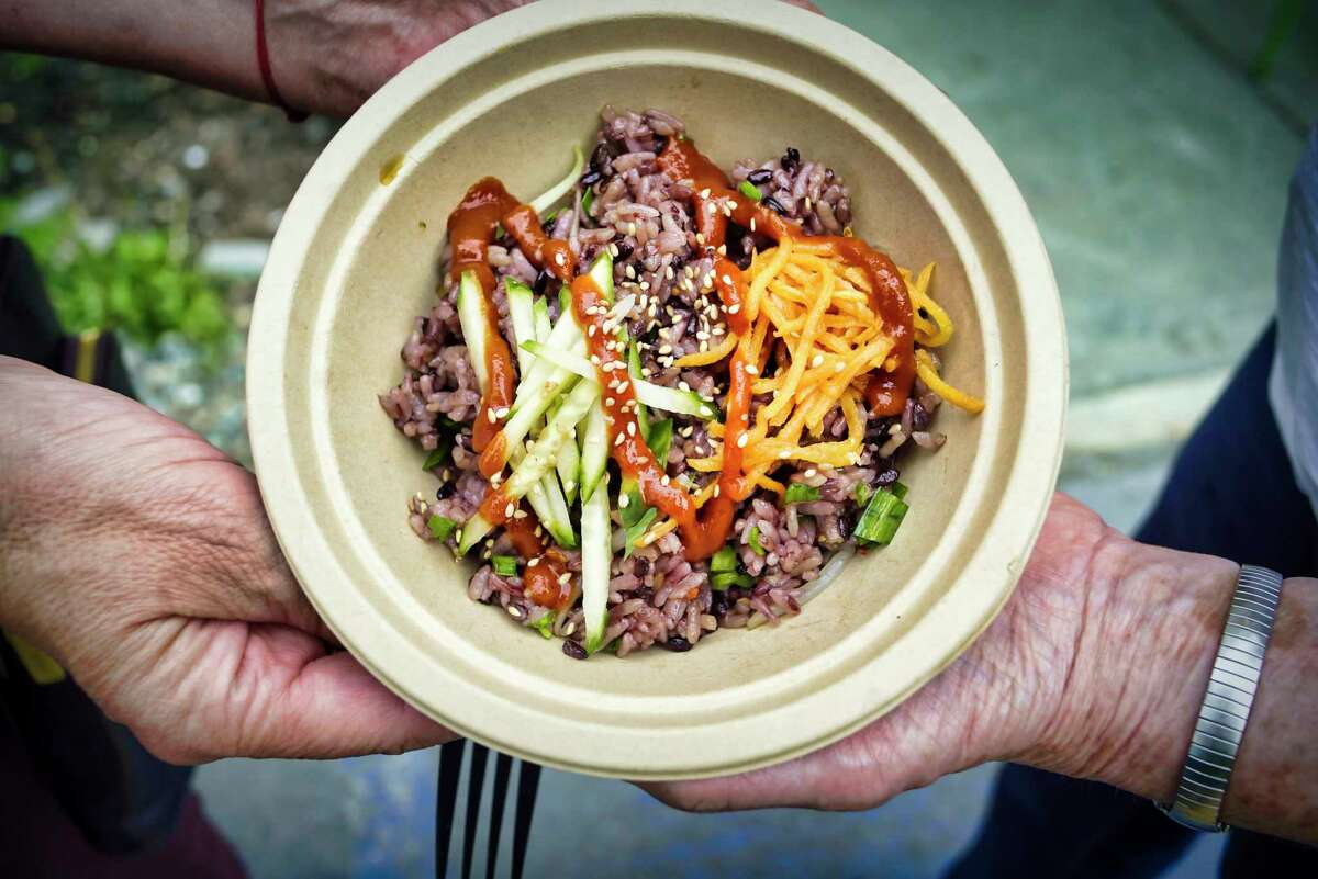 A view of the BiBimBop bowl from Sunhee's Farm and Kitchen in Troy. (Paul Buckowski/Times Union)