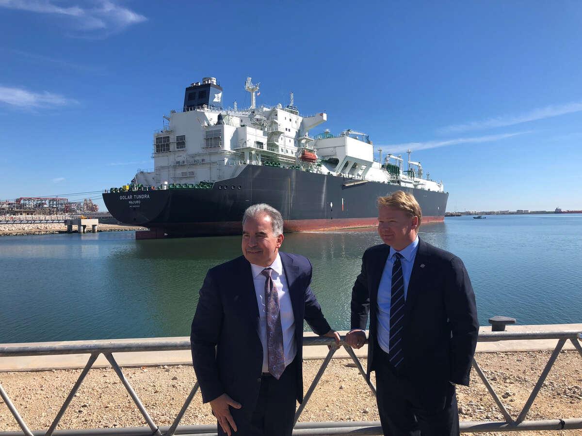 Cheniere Energy CEO Jack Fusco and Bechtel CEO Brendan Bechtel at a Thursday, November 15, 2018 event at Cheniere Energy's Corpus Christi LNG export terminal.