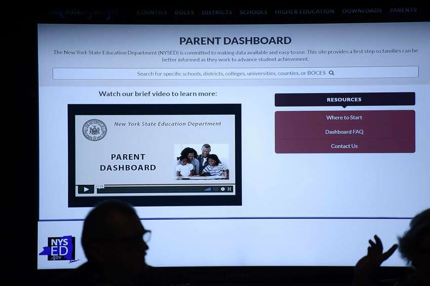 An example of what a website might look like is shown on the screen during a New York State Regents board meeting on Monday, June 3, 2019, in Albany, N.Y. The website example was part of a discussion on the creation of a parent dashboard so parents could find out information about the school their child attends. (Paul Buckowski/Times Union)