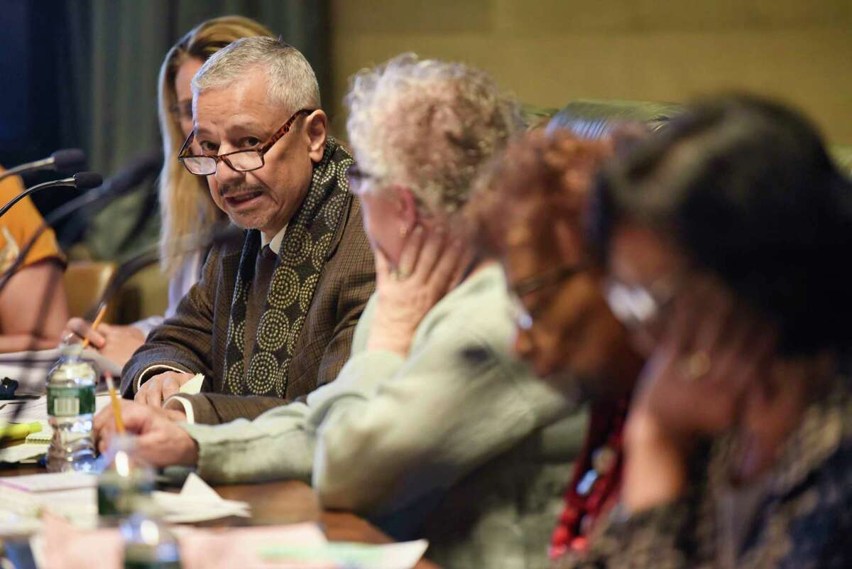 Regent Luis Reyes addresses those gathered for a New York State Regents board meeting on Monday, June 3, 2019, in Albany, N.Y. (Paul Buckowski/Times Union)