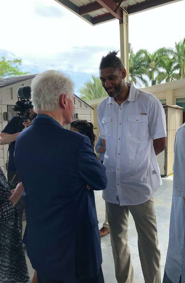 "It was at the St. Croix home where the Clintons, Duncan and Rep. Stacey Plaskett met up to learn more about the early head start program, which is the only one in its territory, according to a tweet thread by Bill Clinton's Press Secretary Angel Ureña. Ureña shared a photo of the former president and Spur meeting and captioned the moment ""42 & 21."" Photo: Courtesy,  Angel Ureña/Clinton Foundation"