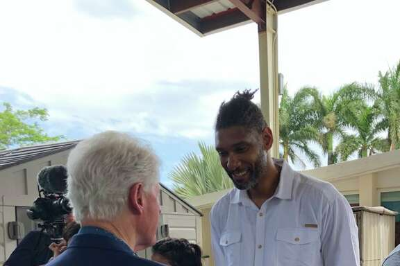 """It was at the St. Croix home where the Clintons, Duncan and Rep. Stacey Plaskett met up to learn more about the early head start program, which is the only one in its territory, according to a tweet thread by Bill Clinton's Press Secretary Angel Ureña. Ureña shared a photo of the former president and Spur meeting and captioned the moment """"42 & 21."""""""