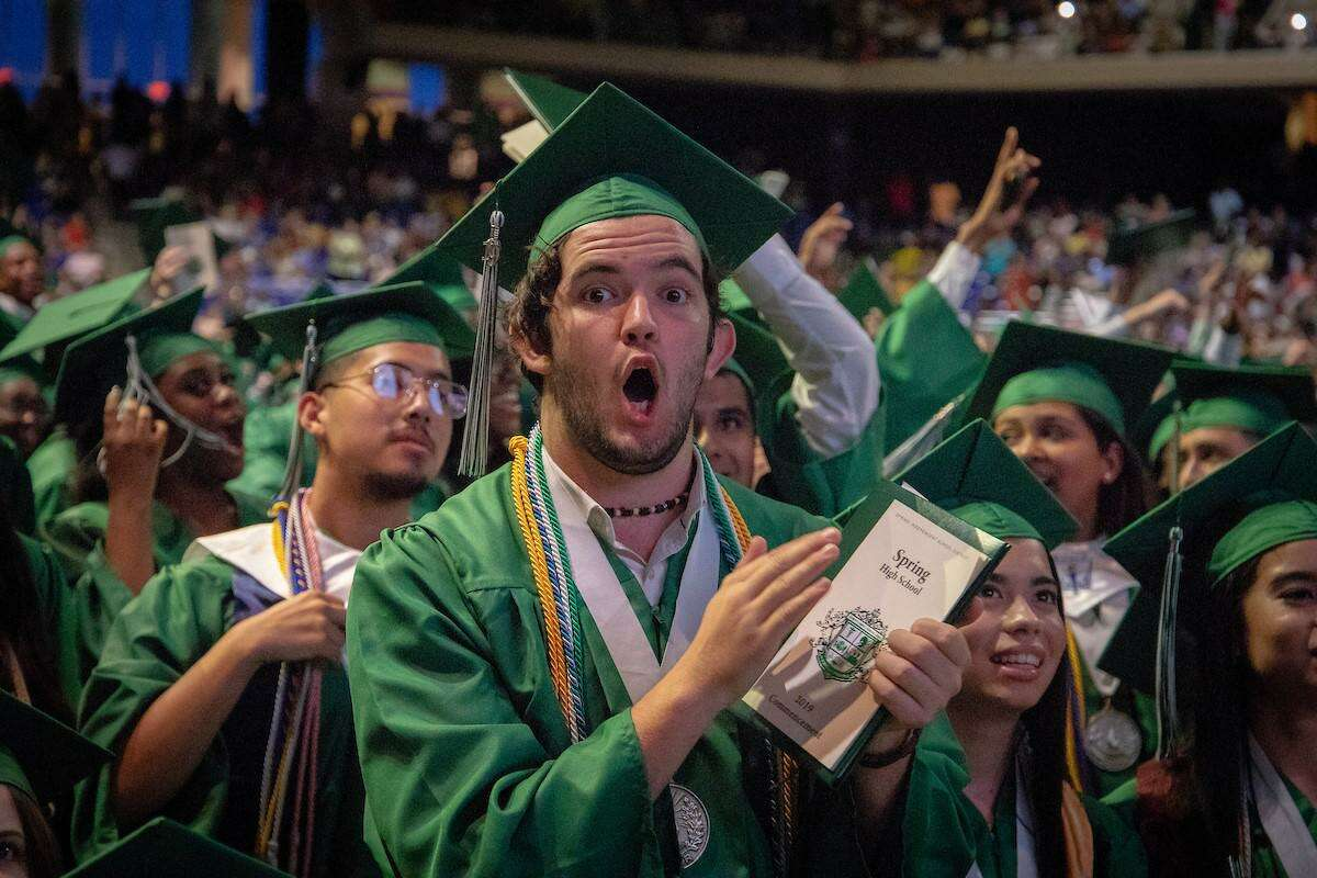 Class of 2019 graduates of Spring High School hold their ceremony at the Berry Center on Sunday, June 2.