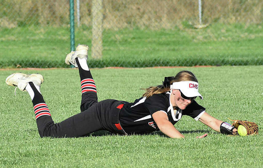 Calhoun sophomore center fielder Elly Pohlman, shown making a diving catch in a win at Edwardsville on April 22, will be among the returning starters the Warriors will be counting on for another state run in 2020. Photo: Matt Kamp / Hearst Illinois
