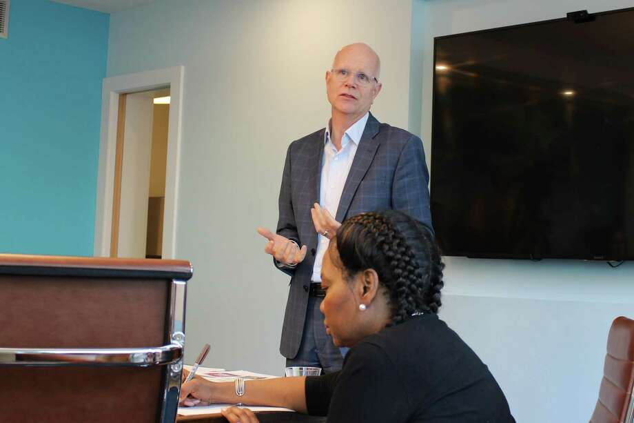 Connecticut Comptroller Kevin Lembo speaks to the Wall Street Neighborhood Association on Wednesday, May 23, 2019 about a proposed public option for small business owners. Photo: Kelly Kultys / Hearst Connecticut Media
