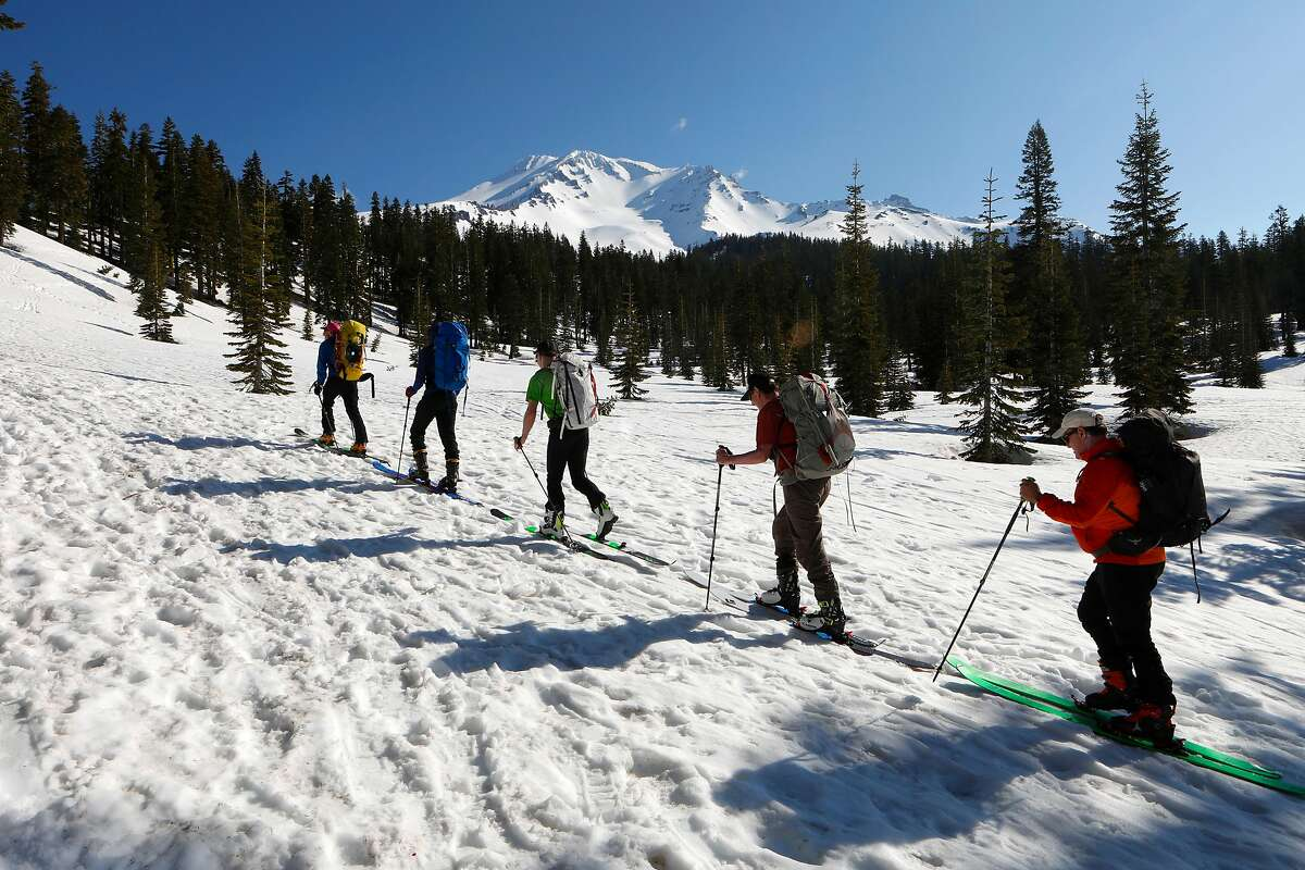 Climbers, (l to r) Daniel Sundqvist, Chris Black, Ben Ellis, Clyde Propst and Ted Staryk begin their accent up to the 14,179 foot peak of Mt. Shasta,Ca., on Thursday May 30, 2019. Epic snowfall on Mt. Shasta should extend the hiking season well into the summer months,
