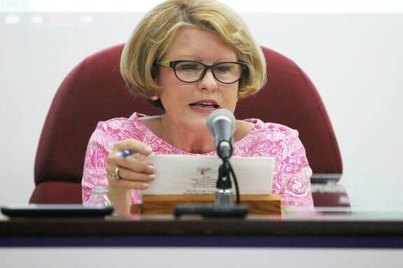 New Dayton mayor Caroline Wadzeck reads a motion during her first city council meeting. Wadzeck ran unopposed and is the first woman elected to the mayor's office.
