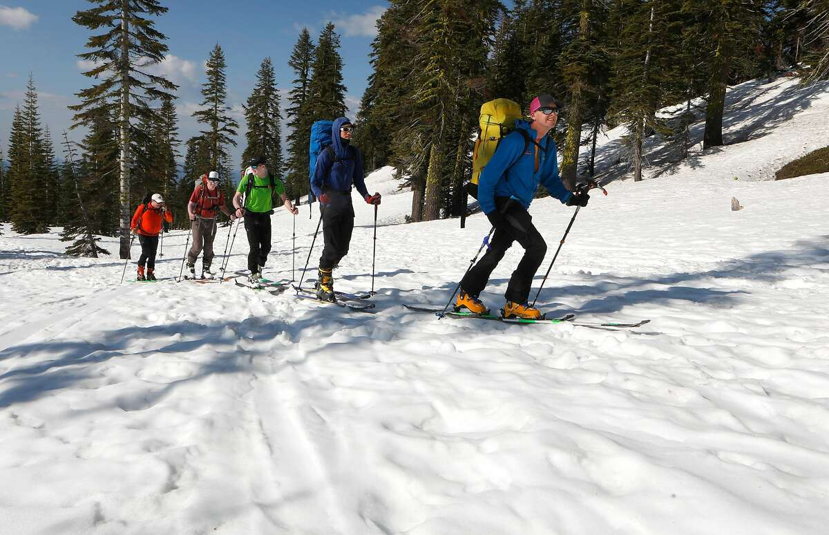 Climbers, (l to r) Ted Staryk Clyde Propst, Ben Ellis, Chris Black and Daniel Sundqvist, begin their accent up to the 14,179 foot peak of Mt. Shasta,Ca., on Thursday May 30, 2019. Epic snowfall on Mt. Shasta should extend the hiking season well into the summer months,