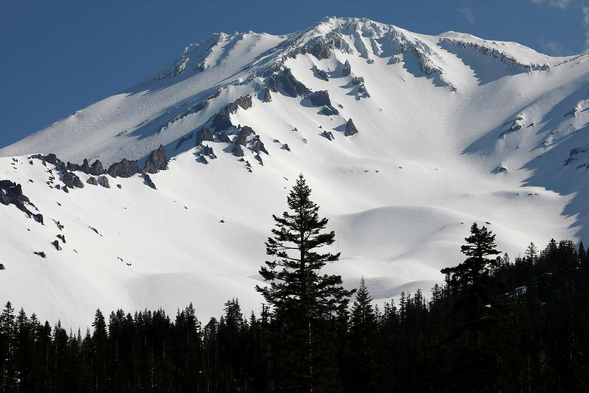 Looking up from the Bunny Flat Trailhead, starting point for several different climbs, up the 14,179 foot peak of Mt. Shasta,Ca., as seen on Thursday May 30, 2019. Epic snowfall on Mt. Shasta should extend the hiking season well into the summer months,