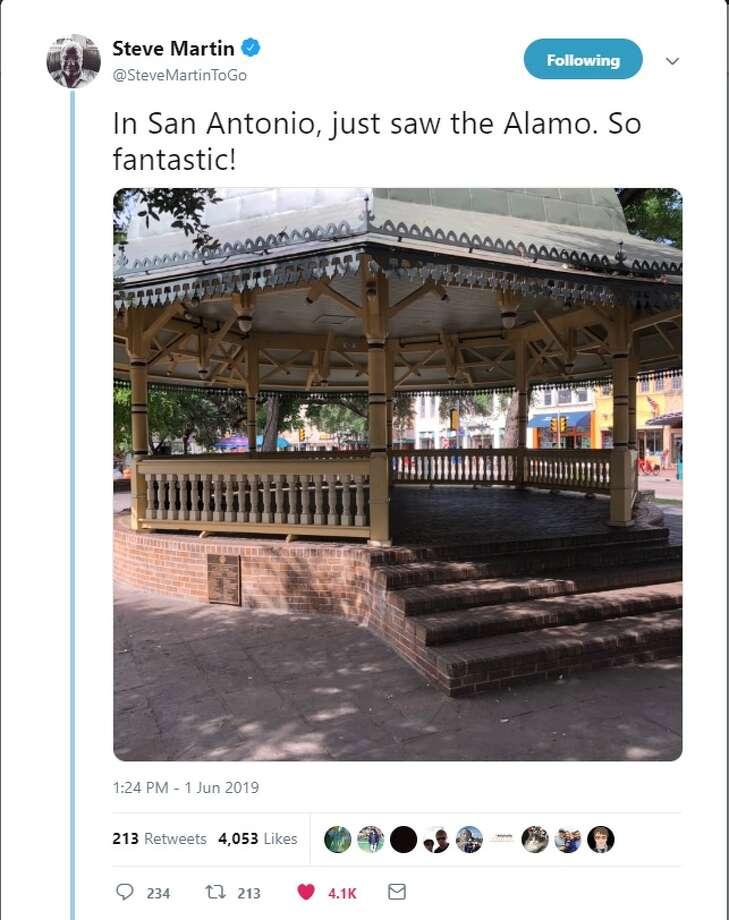 Comedian Steve Martin jokes that the gazebo in Alamo Plaza is the main historic attraction, in a tweetSaturday. Photo: Twitter: @SteveMartinToGo