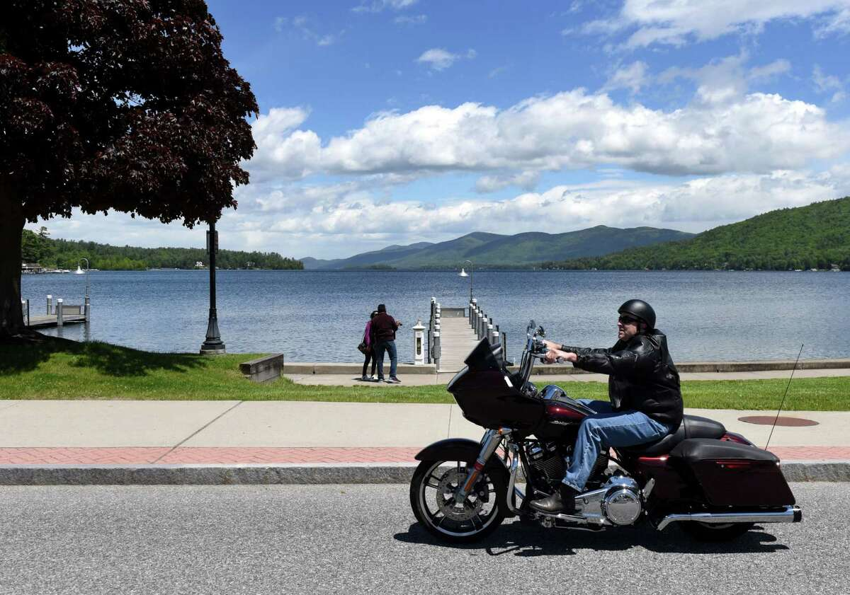 Bikers gather in Lake George Village for the start of Americade, the annual motorcycle rally that draws thousands of riders to the village surrounding Adirondack Mountains, on Monday, June 3, 2019, on Beach Road in Lake George, N.Y. (Will Waldron/Times Union)