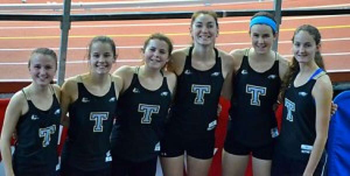 Maggie Loschiavo, Kate Romanchick, Kaley Fasoli, Jennifer Hance, Sydney Adams and Sophia Hopwood get ready to line up for the 1500 meter heat at the North Shore Invitational.