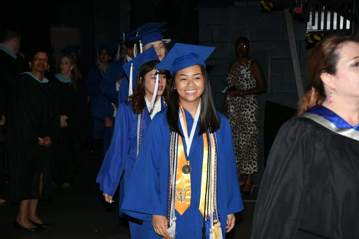 Cypress Creek High School graduates hold their commencement ceremony at the Berry Center on May 31.