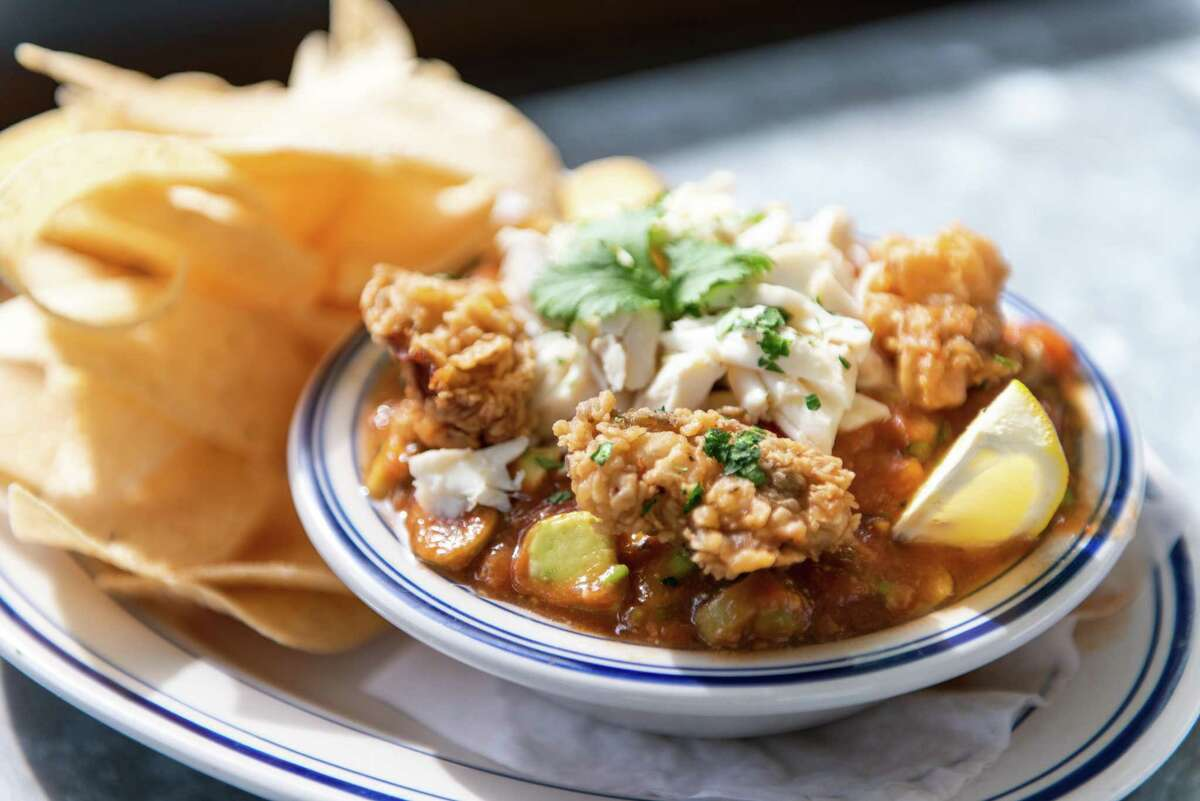 Liberty Kitchen's Campeche Cocktail is one of the restaurant's most popular menu items. The seafood cocktail is topped with fried oysters.