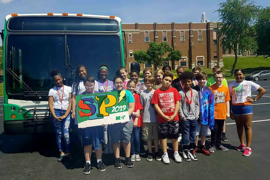 Alton Middle School fifth-grade students help launch this year's Summer Youth Pass program for Madison County Transit. Photo: For The Intelligencer