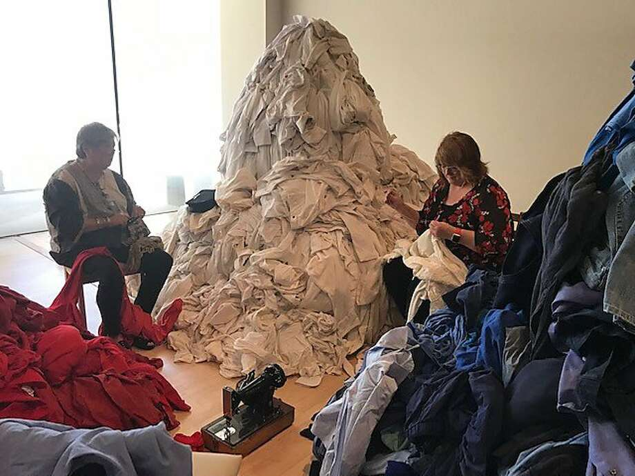 Edith Brady and Patricia Wilcox at work at SFMOMA. Photo: Leah Garchik / The Chronicle