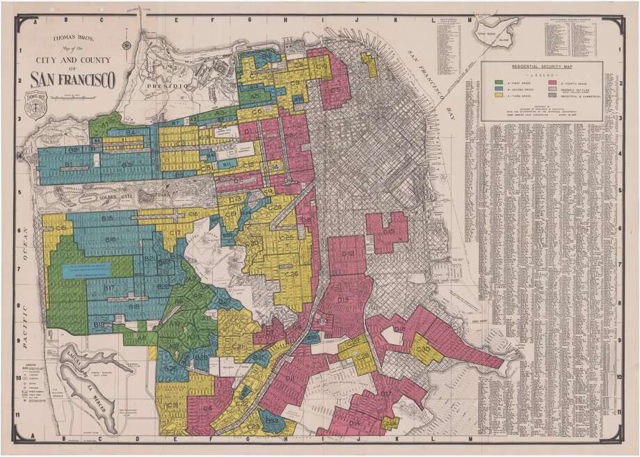 "A map drawn 80 years ago indicates the San Francisco residential zones that are ""best"" in green, ""still desirable"" in blue, ""definitely declining"" in yellow, and ""hazardous"" in red. Photo: Photo By The University Of Richmond's Mapping Inequality Project"