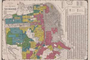 "A map drawn 80 years ago indicates the San Francisco residential zones that are ""best"" in green, ""still desirable"" in blue, ""definitely declining"" in yellow, and ""hazardous"" in red."