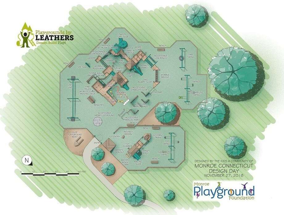 A detailed schematic for the planned design of the Kids Kreation rebuild project in Monroe. Photo: Contributed / Monroe Playground Foundatin