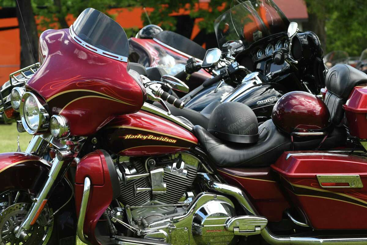 Motorcycles are parked in the registration area for Americade, the annual motorcycle rally that draws thousands of riders to the village surrounding Adirondack Mountains, on Monday, June 3, 2019, at the Fort William Henry Hotel and Conference Center in Lake George, N.Y. (Will Waldron/Times Union)