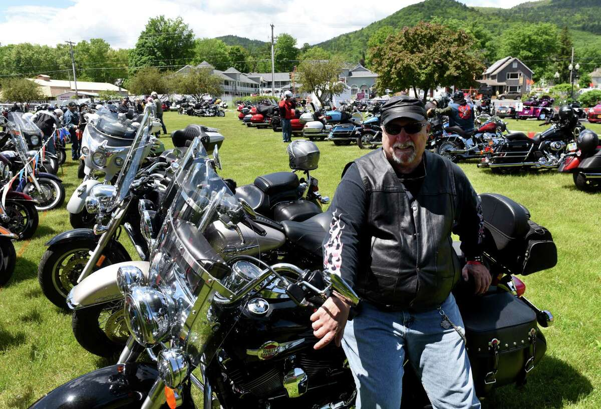 Jeff Nellis of Cohoes arrives to participate in his 15th Americade, the annual motorcycle rally that draws thousands of riders to the village surrounding Adirondack Mountains, on Monday, June 3, 2019, in Lake George, N.Y. The annual event runs through Saturday. (Will Waldron/Times Union)