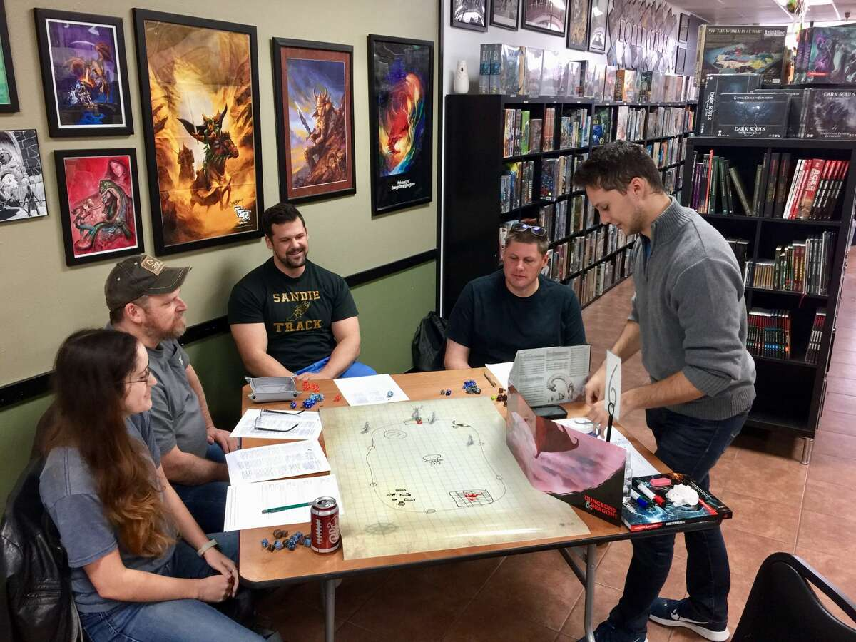 Members of Dungeons & Dragons of the Greater Houston Area gather to play a game.