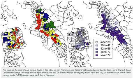 Research by UC Berkeley and UC San Francisco found a correlation between historic redlining maps (left) to asthma related emergency-room visits (right). Photo: Screen Shot