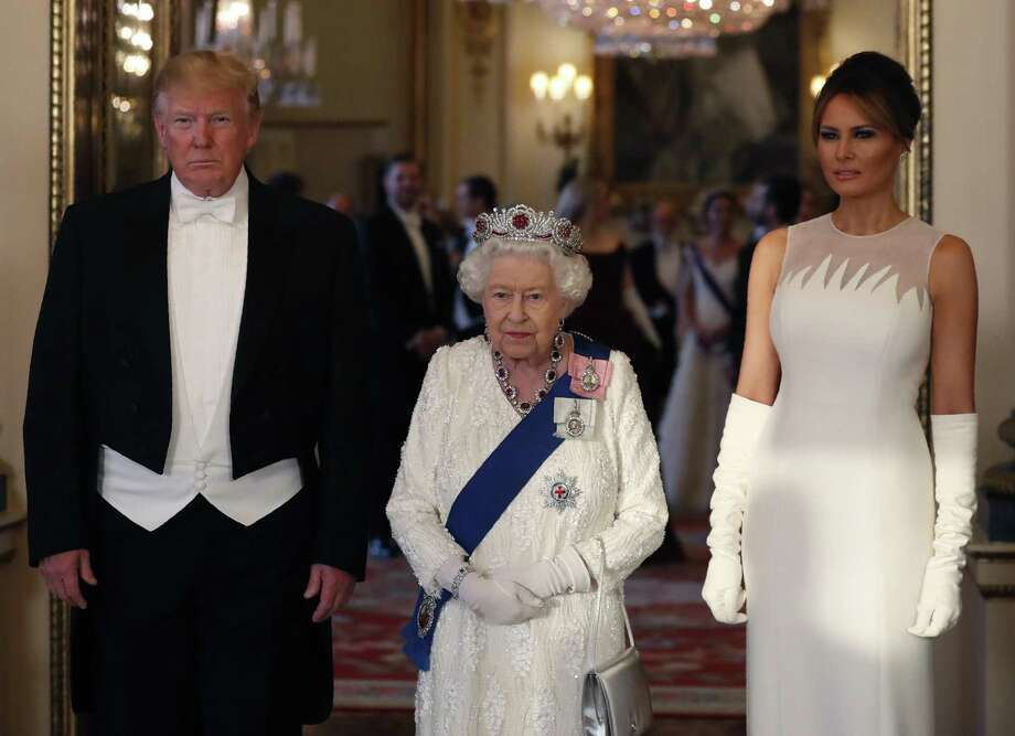 Britain's Queen Elizabeth II poses for a photo with US President Donald Trump, left and first lady Melania Trump ahead of the State Banquet at Buckingham Palace in London, Monday, June 3. Trump is on a three-day state visit to Britain. Photo: Alastair Grant / Associated Press / Copyright 2019 The Associated Press. All rights reserved