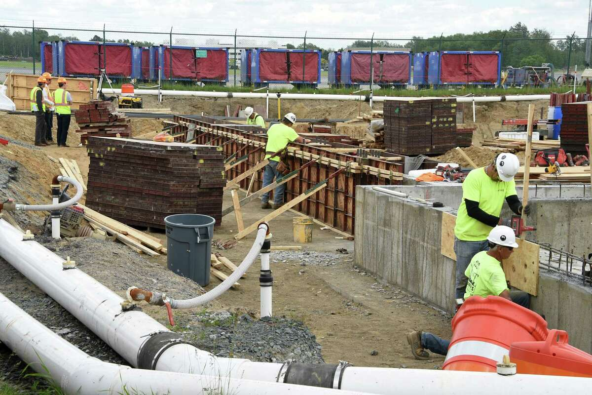 Construction continues on the expansion at the Albany International Airport on Monday, June 3, 2019 in Colonie, N.Y. (Lori Van Buren/Times Union)