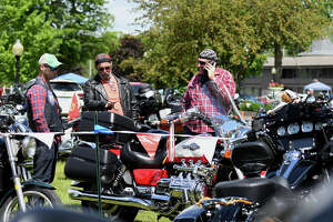 Bikers gather at Fort William Henry Hotel & Conference Center to register for Americade, the annual motorcycle rally that draws thousands of riders to the village surrounding Adirondack Mountains, on Monday, June 3, 2019, in Lake George, N.Y. The event runs through Saturday. (Catherine Rafferty/Times Union)