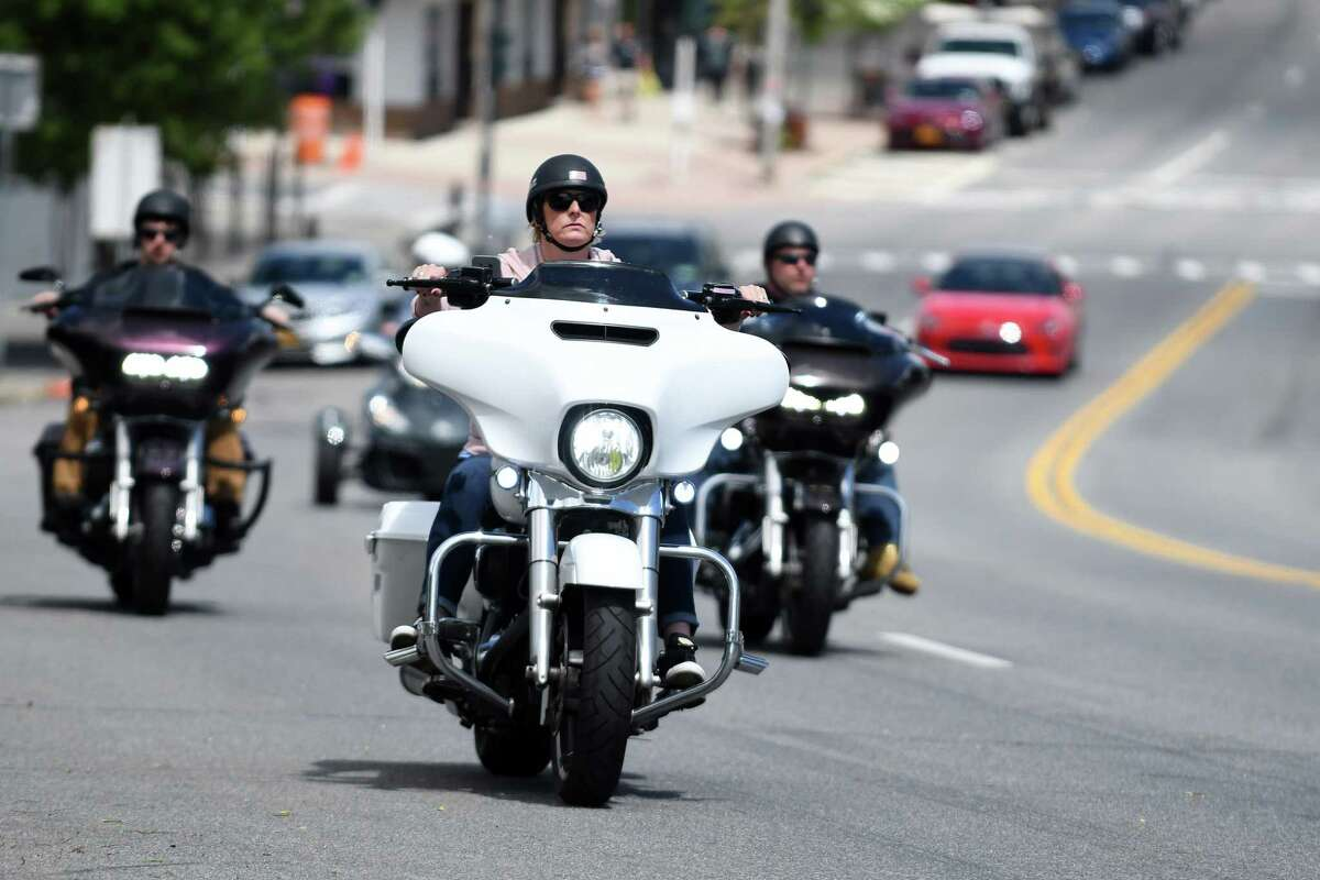 Bikers drive down Route 9N in Lake George Village for the start of Americade, the annual motorcycle rally that draws thousands of riders to the village surrounding Adirondack Mountains, on Monday, June 3, 2019, in Lake George, N.Y. The coronavirus forced cancellation of last year's event and this year's has been postponed to September. (Catherine Rafferty/Times Union)