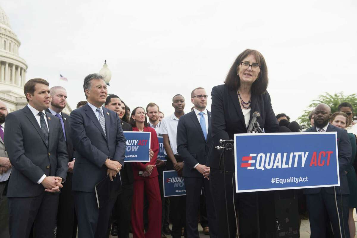 IMAGE DISTRIBUTED FOR HUMAN RIGHTS CAMPAIGN - Executive Director of National Center for Transgender Equality Mara Keisling is joined by members of Congress and advocates during a Human Rights Campaign news conference outside the Capitol before the historic House vote on the Equality Act on Friday, May 17, 2019 in Washington. (Kevin Wolf/AP Images for Human Rights Campaign)