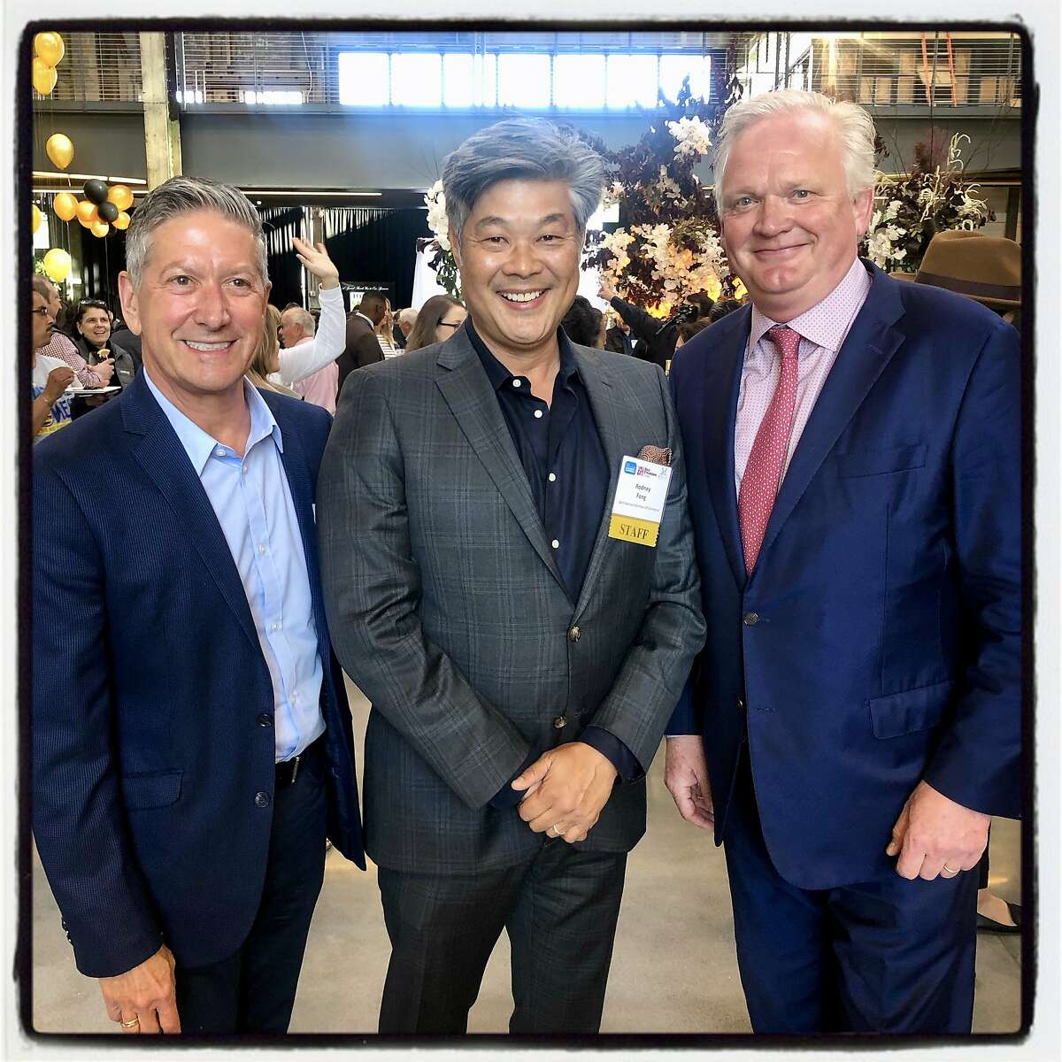 SF Travel CEO Joe D'Alessandro (left) with SF Chamber CEO Rodney Fong and McCalls President Lucas Schoemaker at Pier 70. May 29, 2019.