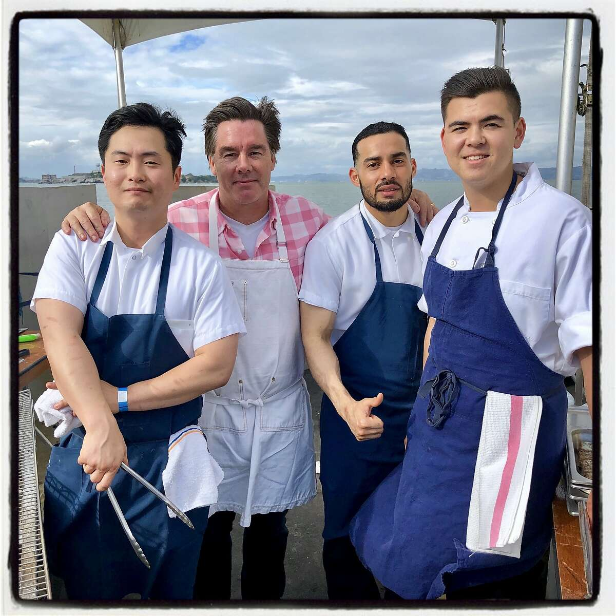 Spruce Restaurant staff (from left) James Lim, chef Mark Sullivan, Jose Alvarez and Brian Thuek at Meals on Wheels. May 19, 2019.