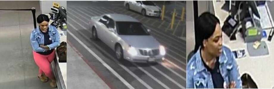 A woman is seen in surveillance video at a New Caney Walmart where authorities say she fraudulently took nearly $10,000 from the store. Her alleged getaway vehicle is also seen here. Photo: Courtesy Of The Montgomery County Sheriff's Office
