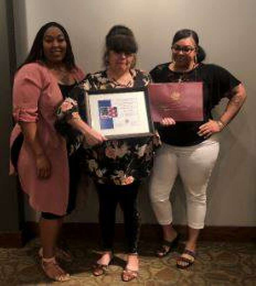 Shina Robinson, SSP Regional Manager, left, is shown with Gloria Jarillo, Home Care Aide of the Year recipient, and Kristin Rainey, SSP Office Manager.