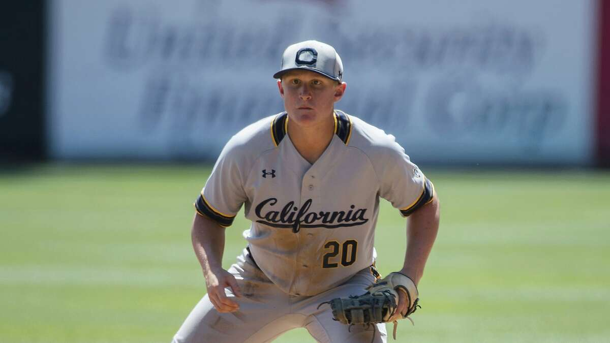 FILE - In this May 5, 2019, file photo, California first baseman Andrew Vaughn fields during an NCAA college baseball game against Utah, in Salt Lake City. Vaughn is one of possible players to have their names called early in the Major League Baseball Draft on Monday, June 3, 2019.(AP Photo/Tyler Tate)